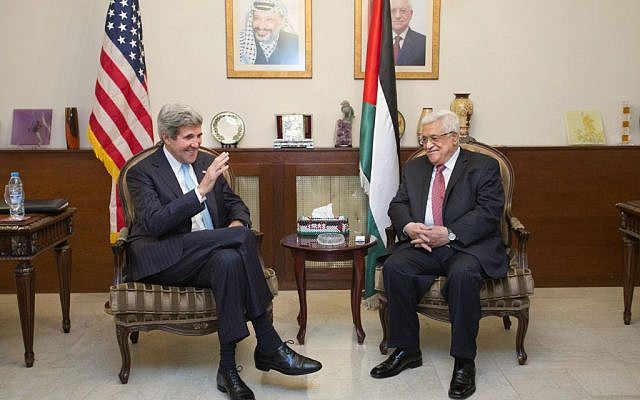 Secretary of State John Kerry, left, meets with Palestinian President Mahmoud Abbas in Amman, June 28, 2013 (photo credit: AP/Jacquelyn Martin, Pool)