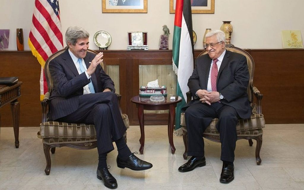 US Secretary of State John Kerry, left, meets with Palestinian Authority President Mahmoud Abbas in Amman, Jordan, on June 28, 2013 (AP/Jacquelyn Martin, Pool)