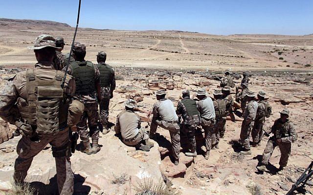 An illustrative photo of US Marines monitoring 'Eager Lion' multinational military exercises in Quweira, Jordan, on June 18, 2013. (photo credit: AP/Maya Alleruzzo)