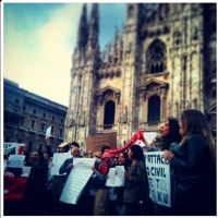 OccupyGezi protesters in Milan, Italy, June 1, 2013 (photo credit: OccupyGezi official Facebook page)