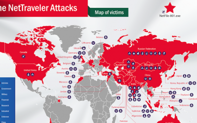 Map of the NetTraveler malware's reach (photo credit: Courtesy)