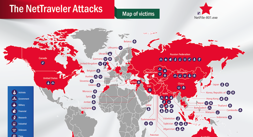 Cyber espionage bug attacking middle east but israel untouched map of the nettraveler malwares reach photo credit courtesy gumiabroncs Image collections