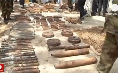 Suspected Hezbollah weapons cache uncovered in May 2013 in Kano, Nigeria. (screen capture: Youtube/Euronews)