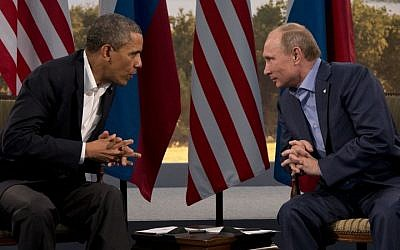 US President Barack Obama meets with Russian President Vladimir Putin in Enniskillen, Northern Ireland, Monday, June 17, 2013. (photo credit: AP/Evan Vucci)