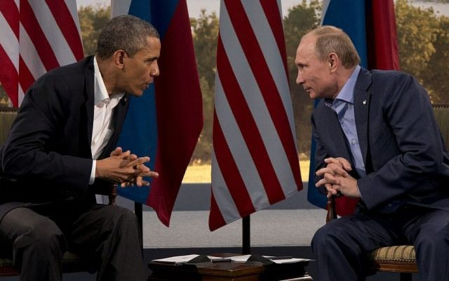 US President Barack Obama meets with Russian President Vladimir Putin in Enniskillen, Northern Ireland, Monday, June 17, 2013. (photo credit: AP/Evan Vucci)