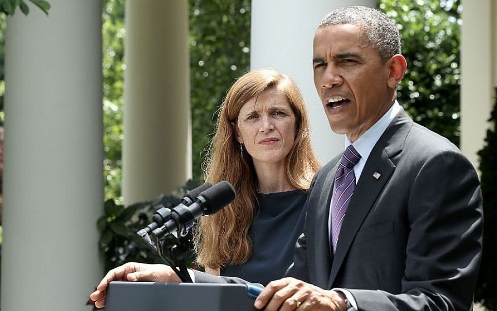 Samantha Power, the nominee for US ambassador to the United Nations, with President Barack Obama announces at the White House, on June 5, 2013. (photo credit: Alex Wong/Getty)