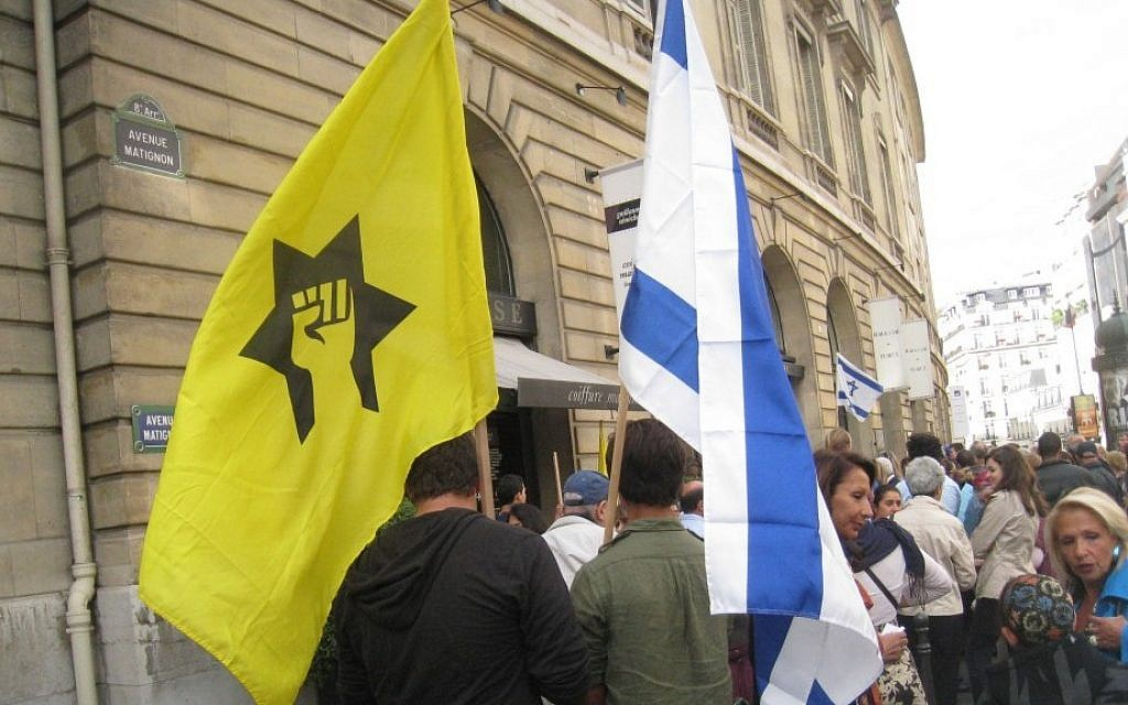 French Jewish Defense League activists demonstrate in Paris, 2011 (illustrative photo credit: Ligue de Defense Juive via JTA)