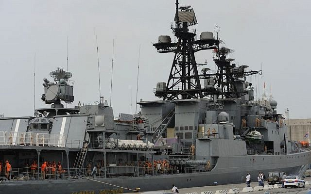 Illustrative photo showing Russian sailors aboard the Admiral Panteleyev Russian war ship moored at the Cypriot port of Limassol, on May 17, 2013. (photo credit: AP Photo/Pavlos Vrionides)