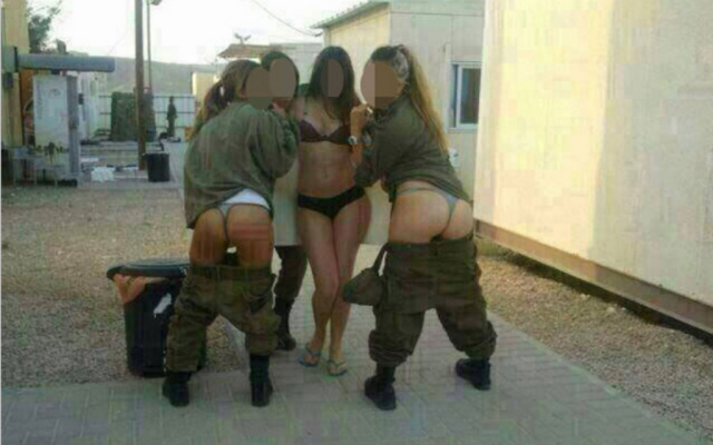 Female IDF soldiers in racy photo posted to Facebook (photo credit: Screen grab/Facebook)