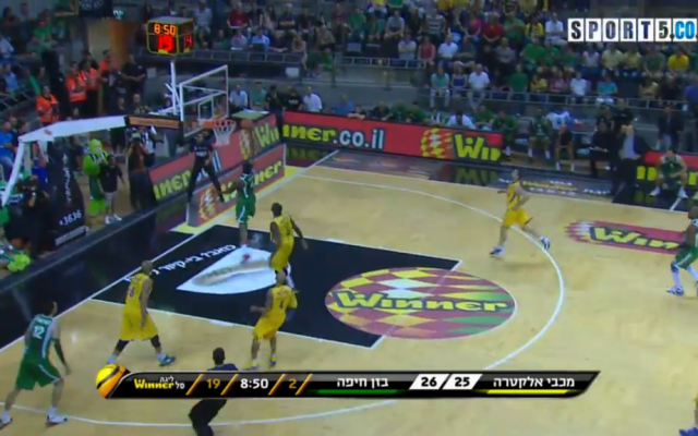 Maccabi Haifa playing the championship final game against Maccabi Tel Aviv on June 14, 2013. Gal Mekel was the game MVP as Haifa won its first ever title. (photo credit: image capture from Channel 5)