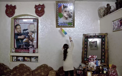 """Ahlam Shibli's photo """"Untitled (Death No. 33),"""" which shows the house of a Palestinian suicide bomber, is currently being exhibited at the Jeu de Paume Museum in Paris. (photo credit: Courtesy, Jeu de Paume/JTA)"""