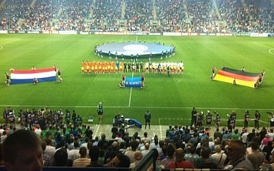 Opening ceremonies for Group B at the UEFA Under-21 championship (photo credit: Raphael Gellar)