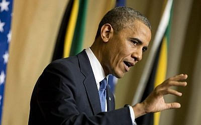 US President Barack Obama gestures during a news conference with South African President Jacob Zuma, not pictured, at the Union Building on Saturday, June 29 (photo credit: AP/Evan Vucci)