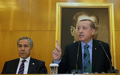 Turkey's Prime Minister Recep Tayyip Erdogan speaks to the media in Istanbul, Turkey, Monday, June 3, 2013 (photo credit: AP)