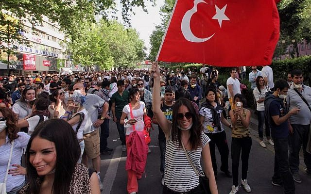 Young Turks walk during a protest in Ankara, Turkey, Sunday, June 2 (photo credit: AP/Burhan Ozbilici)