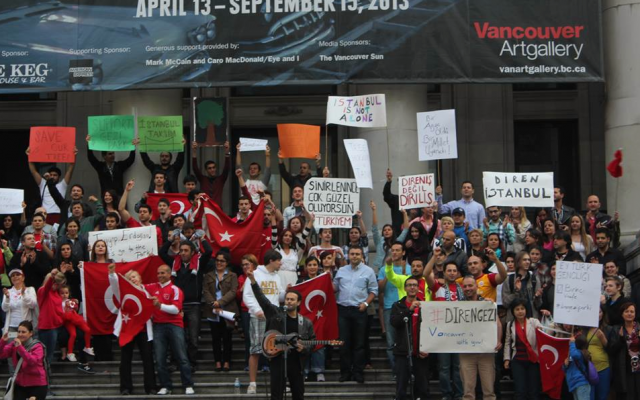 A rally in Vancouver, Canada, supporting the anti-government protests in Turkey, June 1, 2013 (photo credit: OccupyGezi official Facebook page)
