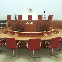 Illustrative photo of an empty courtroom at the Supreme Court. (photo credit: Flash90)