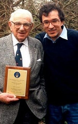 Nicholas Winton (left) with 'Nicky's Family' director Matej Minac. (photo credit: Courtesy of Menemsha Films)