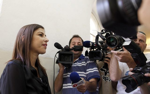 Israeli news anchor Geula Even, a witness in the court case against former Israeli Foreign Minister Avigdor Liberman, at the Jerusalem Magistrate's Court on June 12, 2013 (photo credit: Flash90)