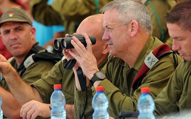 Lt. Gen. Benny Gantz watching the combined drill (Photo credit: Courtesy: IDF Spokesperson's Office)
