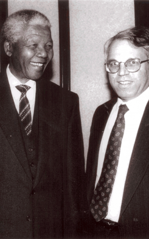 Nelson Mandela and Israel's ambassador to Israel Alon Liel (photo credit: courtesy: Alon Liel)