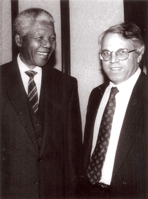 Nelson Mandela and Israel's ambassador to South Africa Alon Liel (photo credit: courtesy: Alon Liel)