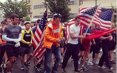 Ross running the symbolic last mile of the Boston Marathon on May 25 with One Race. (photo credit: Instagram)
