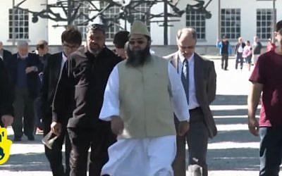 Muslim leaders visit Auschwitz, May 20, 2013. (screen capture: Youtube/JewishNewsOne)