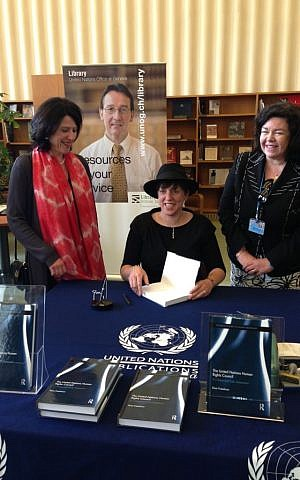 Rosa Freedman (center) with Ambassador Karen Pierce and the head of the UN library services (photo credit: courtesy)