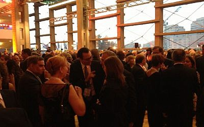 A sea of black at the Tomorrow 13 reception Tuesday night (photo credit: Jessica Steinberg/Times of Israel)