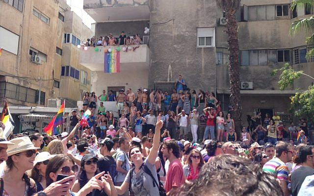 Tel Avivians celebrate the annual gay pride festival, Friday. (photo credit: Times of Israel staff)