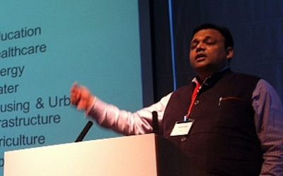 Dr. Arvind Gupta speaks at the Israel-Asia Summit (Photo credit: Courtesy)
