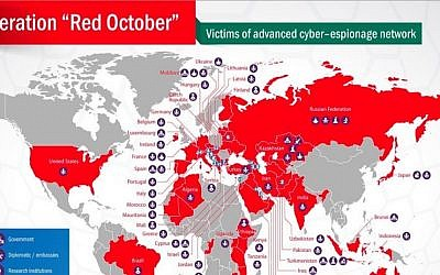 Map of countries affected by the Red October malware. (Screenshot Courtesy Kaspersky Lab)