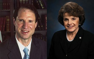 US Senators Ron Wyden, left, and Dianne Fienstein (photo credit: US Senate)