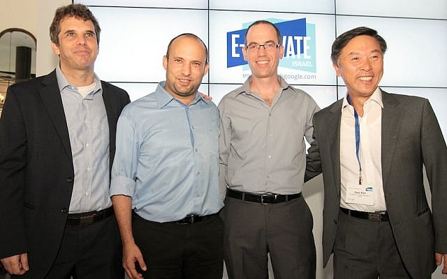 Pictured (L. to R.) Meir Brand, CEO Google Israel; Economics Minister Naftali Bennett; Doron Avni, Google Israel government relations director; Kim il-Soo, South Korean Ambassador to Israel (Photo credit: Niv Kantor)