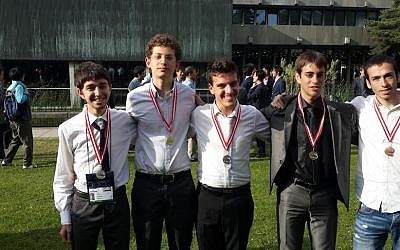 Members of the Israeli team at the Physics Olympiad (Photo credit: Education Ministry)