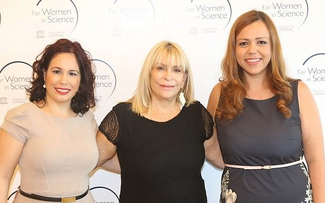 (L. to R.)  Adit Naor, Nava Ravid, and Natalie Zetoony at this year's presentation of the Israel L'Oreal-UNESCO For Women in Science Award winners (Photo credit: Lamm-Velitz Studio)