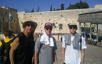 The Carter family visits the Western Wall ahead of the Maccabiah Games (photo credit: courtesy)
