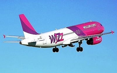 Illustrative image of the pink and purple stripes of a Wizz Air plane (Courtesy Wizz Air)