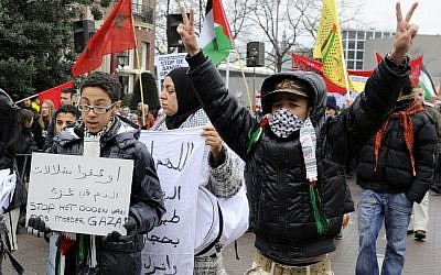 A pro-Gaza march in Amsterdam in 2009. (photo credit: CC BY Jos van Zetten, Flickr)
