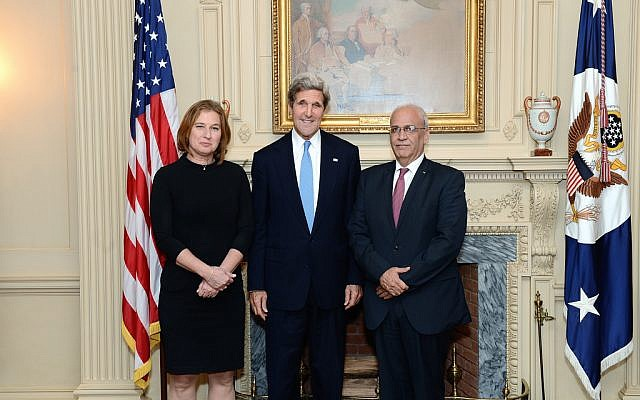 Tzipi Livni, left, John Kerry, center, and Saeb Erekat at the State Department  July 30, 2013, when peace talks began. (Photo credit: State Department)