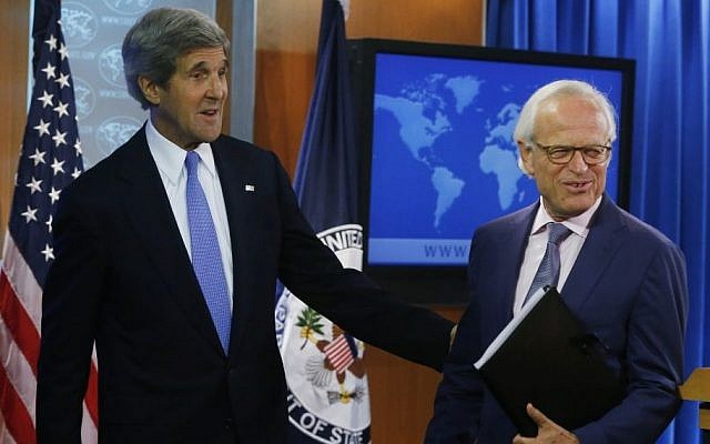 Secretary of State John Kerry and Special Envoy Martin Indyk.  (photo credit: AP/Charles Dharapak)