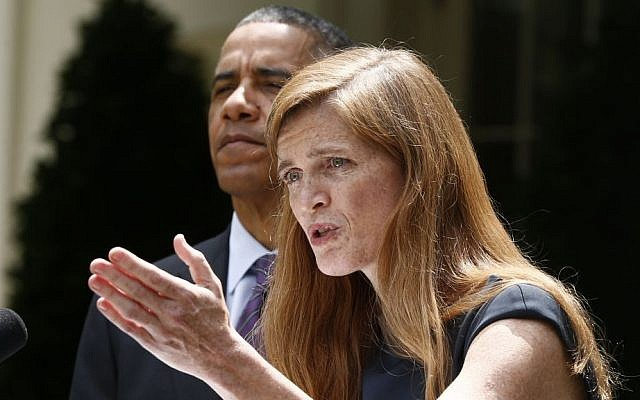 President Barack Obama listens as Samantha Power speaks in the Rose Garden at the White House in Washington, Wednesday, June 5, 2013. (photo credit: AP/Charles Dharapak)