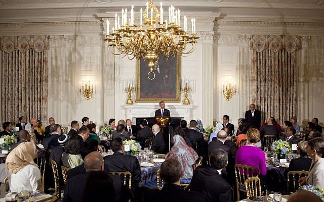 US President Barack Obama speaks as he hosts an Iftar dinner celebrating Ramadan in the State Dining Room of the White House, Thursday, July 25, 2013. (photo credit: AP/Carolyn Kaster)