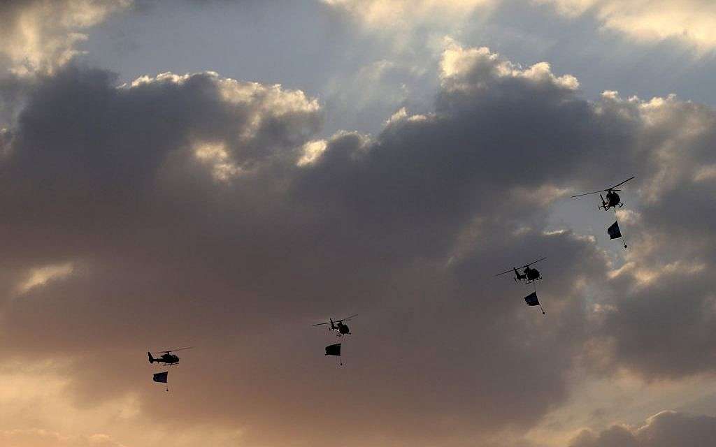 Illustrative photo of Egyptian Military helicopters, Cairo, Egypt, Monday, July 1 (photo credit: AP/Hassan Ammar)