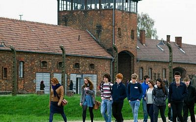 British non-Jewish high schoolers on a trip to Auschwitz. (photo credit: courtesy)
