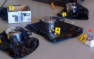 The pressure cookers John Stewart Nuttall had set up as explosive devices, July 2 (photo credit: AP Photo/The Canadian Press, Royal Canadian Mounted Police)