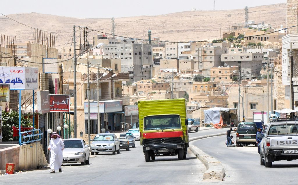 A midday view of a sleepy town south of Amman (photo credit: Michal Shmulovich/Times of Israel)