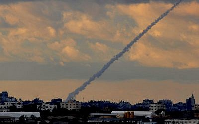 Illustrative photo of a Grad rocket fired toward Israel from the Gaza Strip. (Jorge Novominsky/Flash90/File)