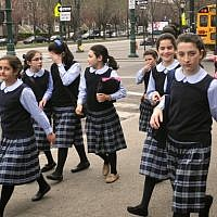 Illustrative photo of ultra-Orthodox school girls in New York. (Uri Lenz/Flash90)